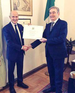 Paolo Del Panta editor of All about Italy with Consul General Renato Cianfarani in Munich