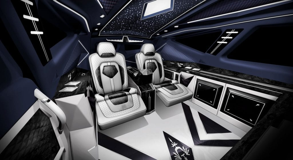 karlmann suv king italian car wheels black sand sky interiors white chairs